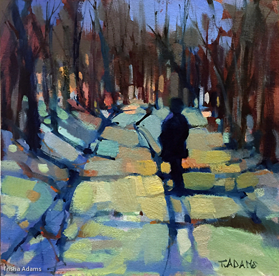 A Walk in the Woods by Trisha Adams Oil ~ 12 x 12